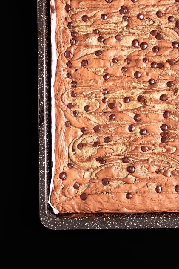 Les graines de tournesol organiques faites maison de fondant de concept sain de nourriture beurrent des 'brownie' sur le fond noi images libres de droits