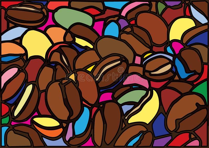 Les grains de café Moïse ont souillé le verre illustration libre de droits