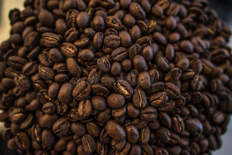 Les grains de café rôtis donnent au macro ingrédient une consistance rugueuse de plan rapproché faisant cuire le fond photo stock