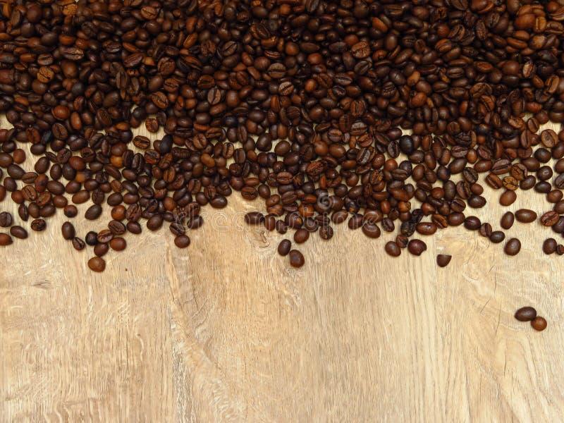 Les grains de café sur la texture en bois de chêne fin modèlent le fond L'espace pour le texte photos stock