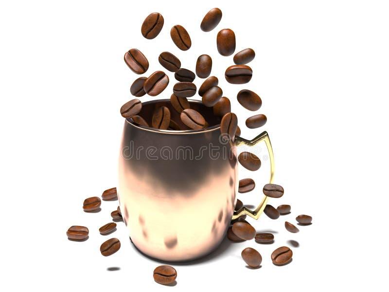 Les grains de café tombent dans une tasse illustration de vecteur