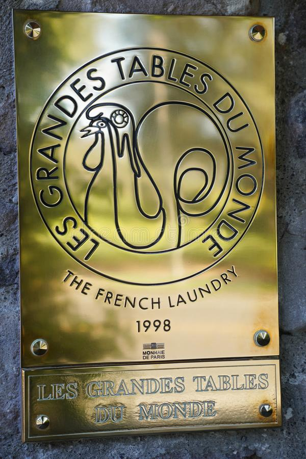 Les Grandes Bordlägga du Monde undertecknar in restaurangen för tre Michelin Stars The French Laundry i Yountville arkivfoto