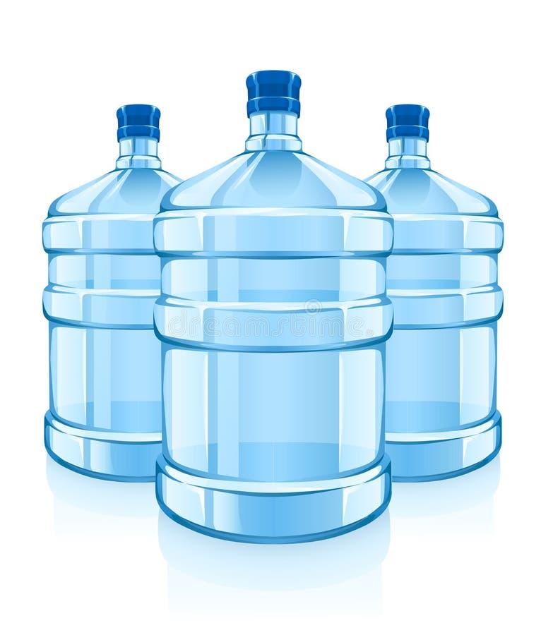 les grandes bouteilles bleues nettoient l'eau des boissons trois illustration de vecteur
