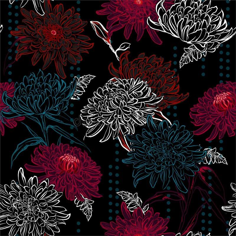 Les grandes fleurs de floraison de chrysanthème de modèle de fleur d'ensemble posent avec la conception rayée de points de polka  illustration de vecteur