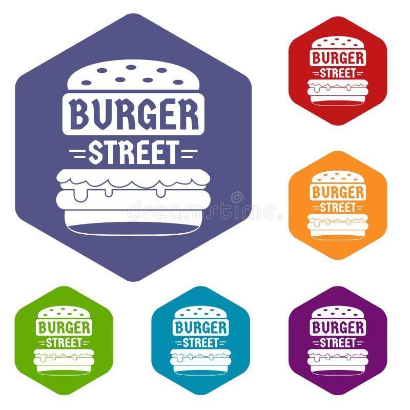 Les grandes icônes d'hamburger de rue dirigent le hexahedron illustration libre de droits