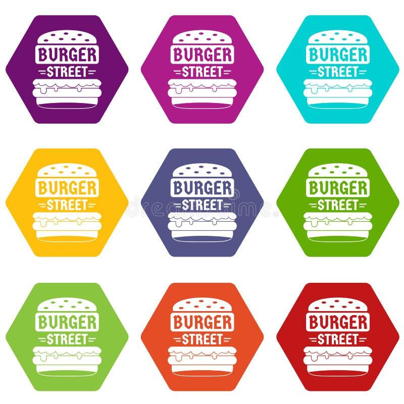 Les grandes icônes d'hamburger de rue ont placé le vecteur 9 illustration stock