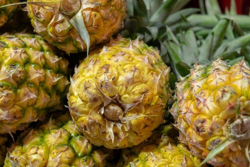 Les grands ananas jaunes mûrs vendus au marché d'agriculteurs images stock