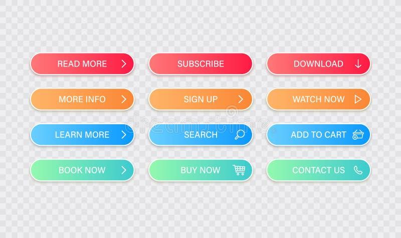Les grands boutons de collection ont indiqué davantage, apprennent davantage, téléchargent, souscrivent, achètent maintenant, s'i illustration de vecteur
