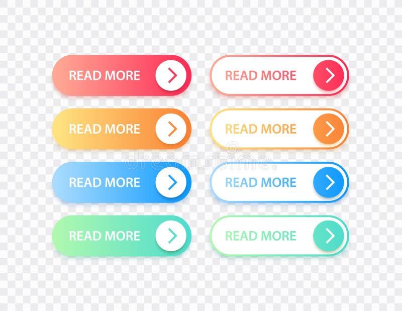 Les grands boutons de collection ont indiqu? davantage Ensemble coloré de bouton de différents gradients Graphismes de Web Illust illustration libre de droits