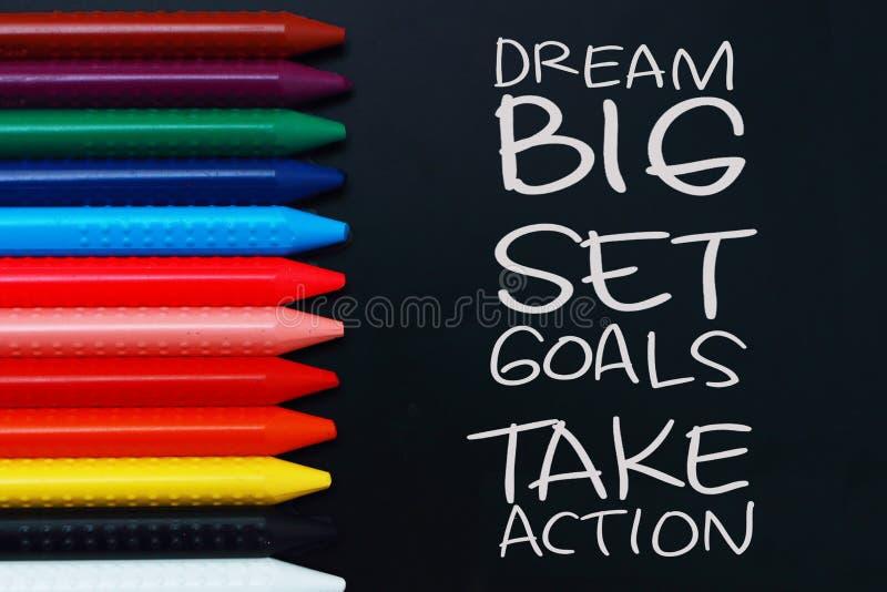 Les grands buts rêveurs d'ensemble agissent images libres de droits