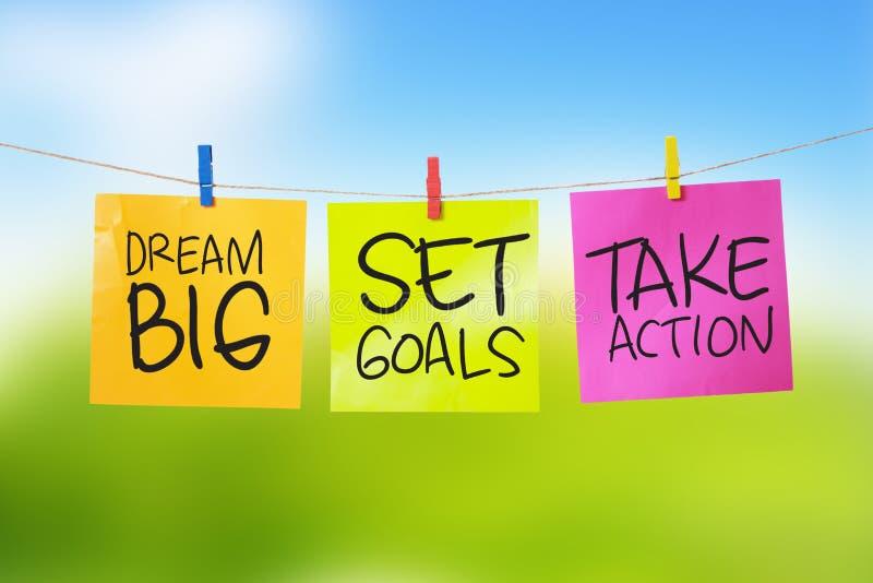 Les grands buts rêveurs d'ensemble agissent photo libre de droits