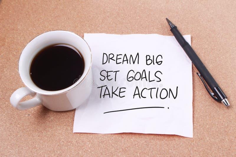 Les grands buts rêveurs d'ensemble agissent image libre de droits