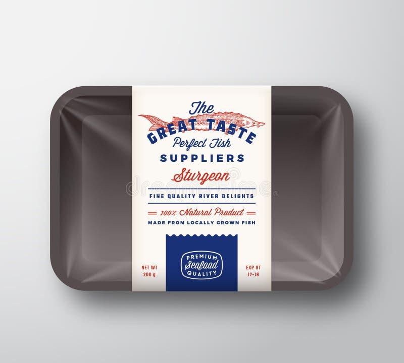Les grands fournisseurs de poissons de go?t soustraient le label rustique de conception d'emballage de vecteur sur le plateau en  illustration de vecteur