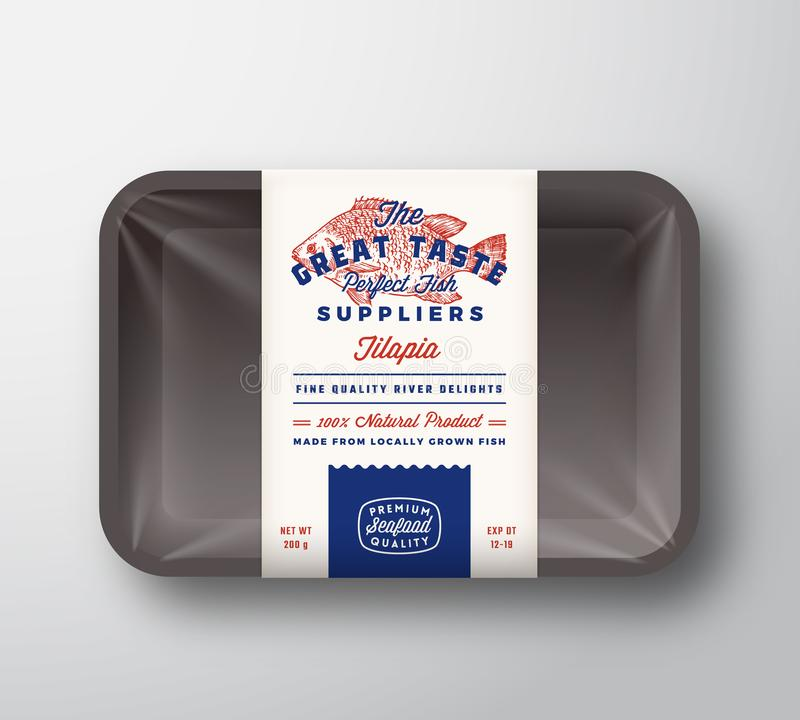 Les grands fournisseurs de poissons de go?t soustraient le label rustique de conception d'emballage de vecteur sur le plateau en  illustration libre de droits