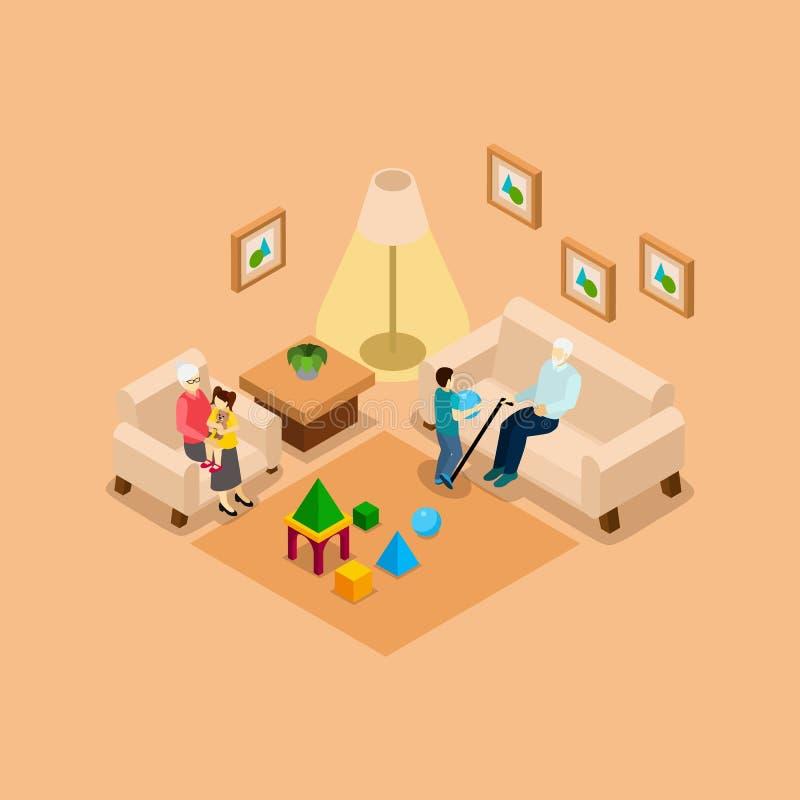 Les grands-parents avec des enfants autoguident la bannière isométrique illustration stock