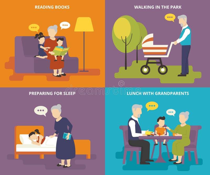 Les grands-parents jouent avec des enfants illustration stock