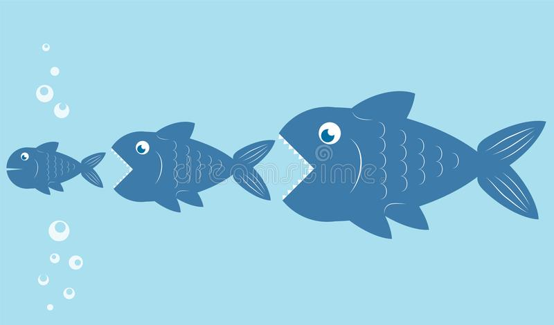 Les grands poissons mangent de petits poissons, conception de chaîne alimentaire, illust courant de vecteur illustration stock
