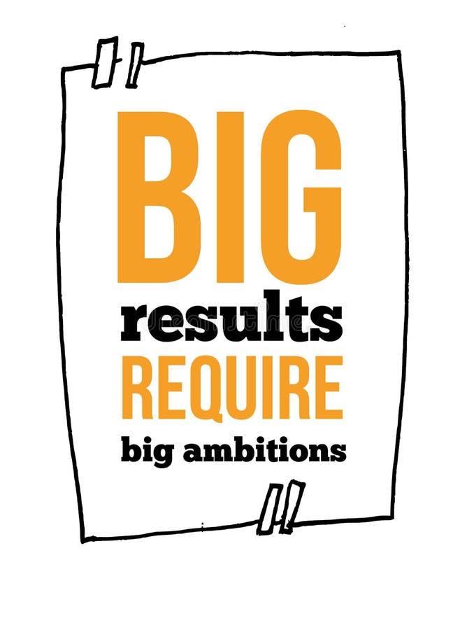 Les grands résultats exigent la citation de motivation inspirée de grandes ambitions dans le cadre de croquis pour le mur dans le illustration de vecteur