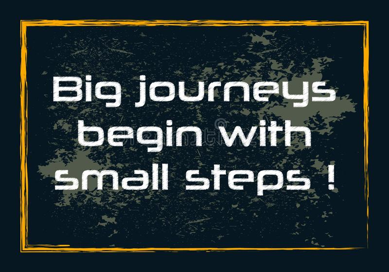 Les grands voyages commencent par le concept positif de petit d'étapes de motivation vecteur inspiré de citation illustration de vecteur