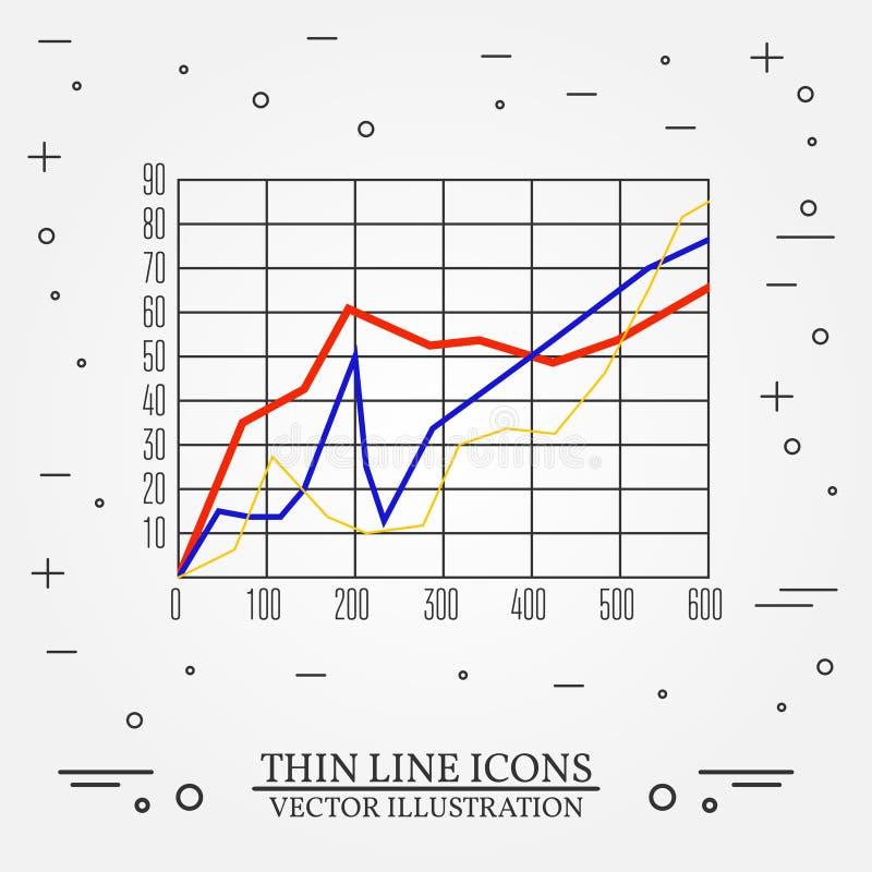 Les graphiques amincissent la ligne conception Icône de stylo de graphiques illustration libre de droits