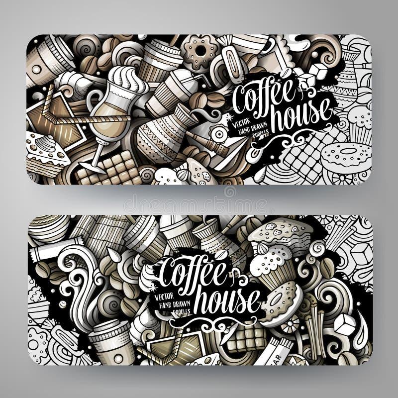 Les graphiques de bande dessinée ont modifié la tonalité les bannières tirées par la main de café de griffonnages de vecteur illustration stock