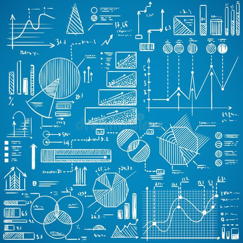Les graphiques de gestion, graphiques, griffonnages de stat ont placé sur le fond bleu illustration de vecteur