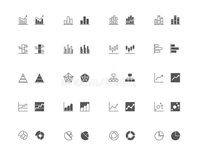 Les graphiques et le diagramme décrivent et ont rempli l'ensemble d'icône illustration de vecteur