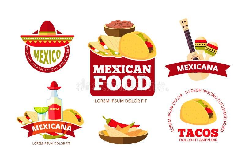 Les graphiques, les tacos, le burrito, le Salsa et les nachos mexicains de restaurant de vintage dirigent des insignes, des label illustration de vecteur