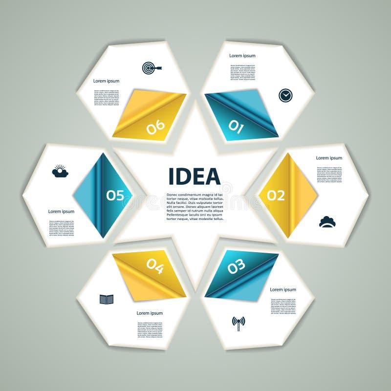 les graphiques modernes de processus des infos 6-Step allument le fond de vecteur illustration stock