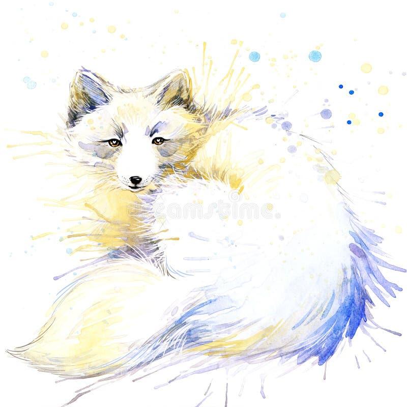 Les graphiques polaires de T-shirt de renard, illustration polaire de renard avec l'aquarelle d'éclaboussure ont donné au fond un illustration de vecteur