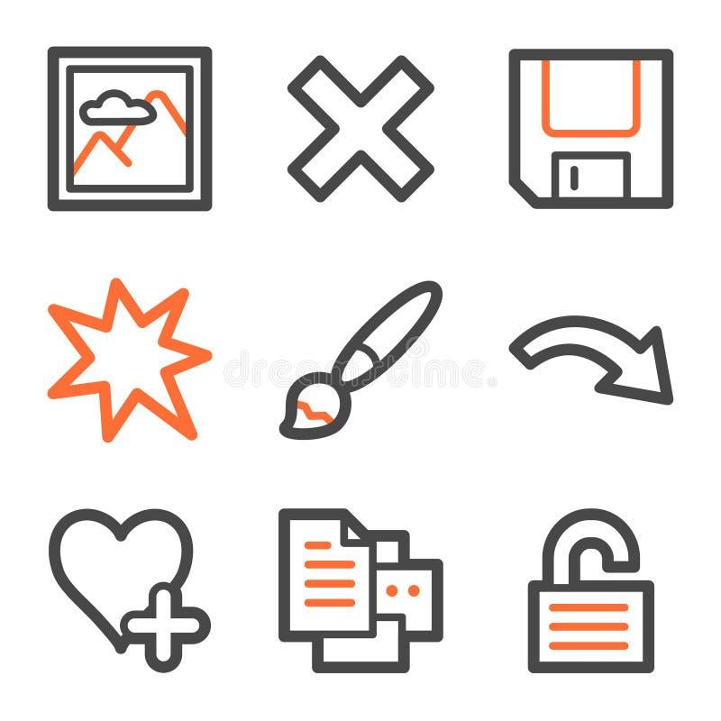 Les graphismes de Web de visualisateur d'image ont placé 2, forme orange-grise illustration libre de droits