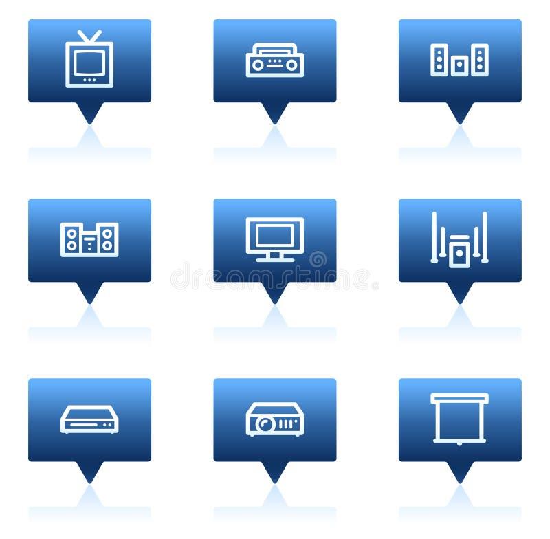 Les graphismes visuels sonores de Web, discours bleu bouillonne série illustration libre de droits