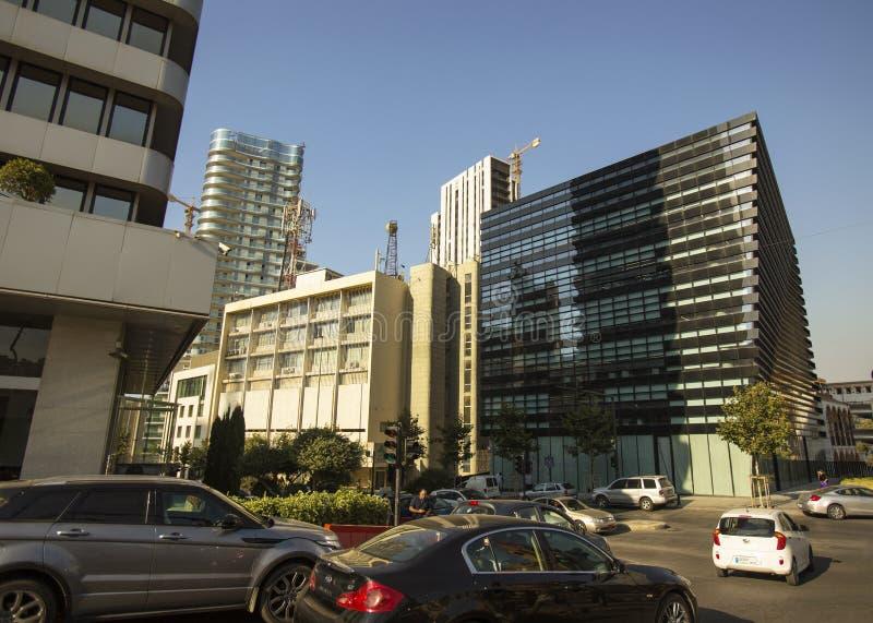 Les gratte-ciel modernes au centre de Beyrouth, Liban ont illustré l'architecture photographie stock libre de droits