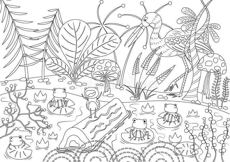 Les grenouilles qui ont désiré un Roi Colorless illustration libre de droits