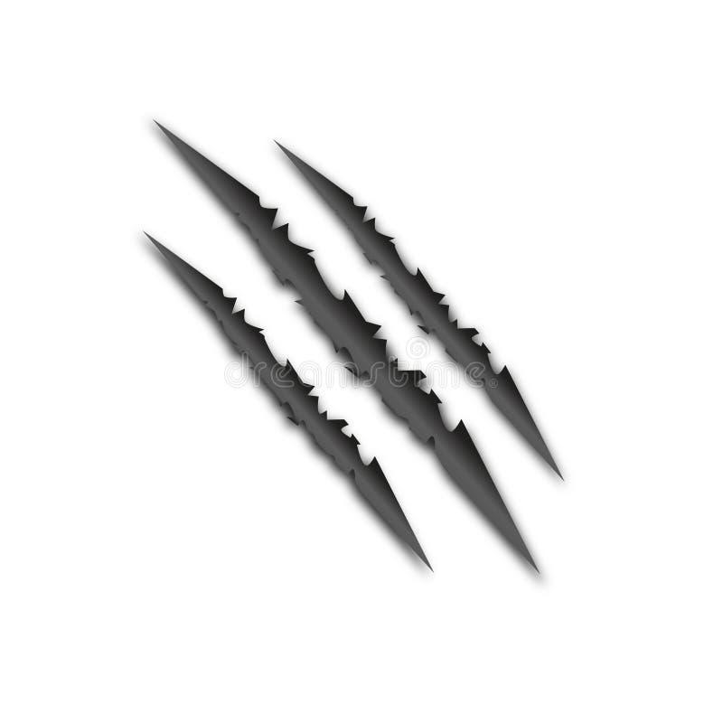 Les griffes d'un animal sauvage d'isolement Belle cicatrice Vecteur illustration libre de droits