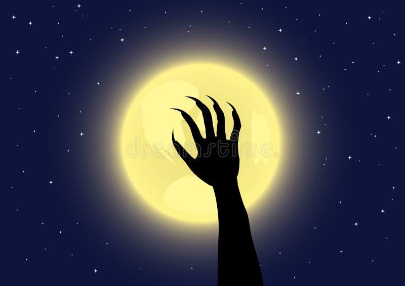 Les griffes du loup-garou sur un fond de pleine lune illustration de vecteur
