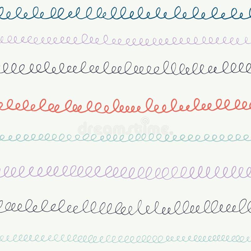 Les griffonnages tirés par la main, calligraphie fait une boucle, écriture, rayures, lignes De nouveau au fond sans couture de mo illustration libre de droits