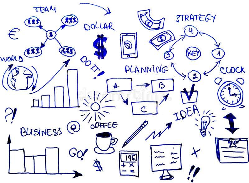 Les griffonnages tirés par la main de stratégie de planification des affaires conçoivent sur le fond blanc illustration stock