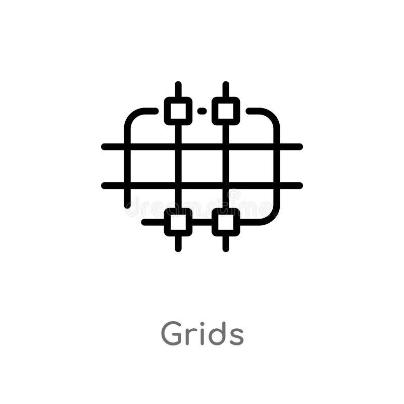 les grilles d'ensemble dirigent l'ic?ne r Course Editable de vecteur illustration stock