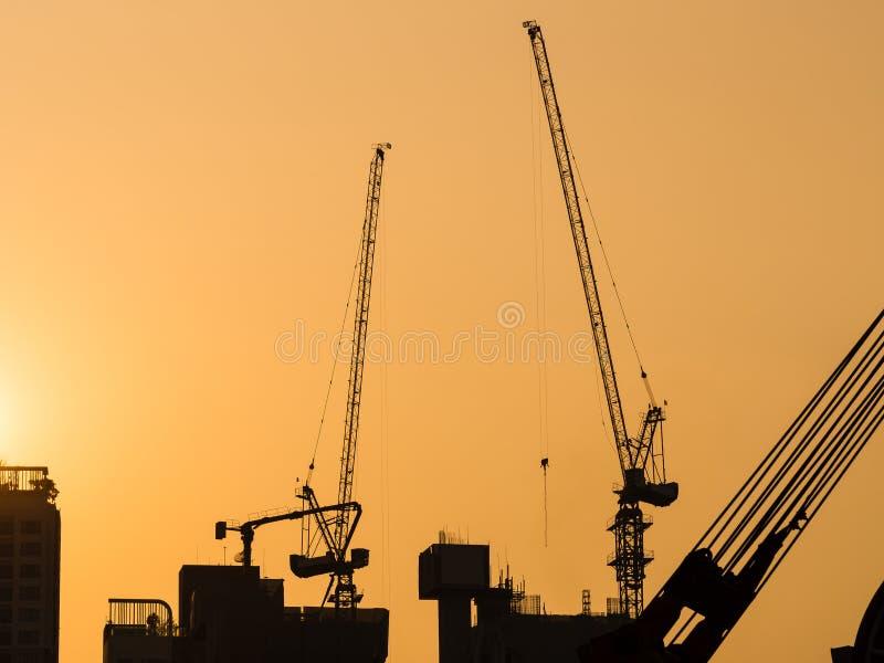 Les grues fonctionnant au ciel de coucher du soleil de site de construction de bâtiments silhouettent le fond industriel photo libre de droits