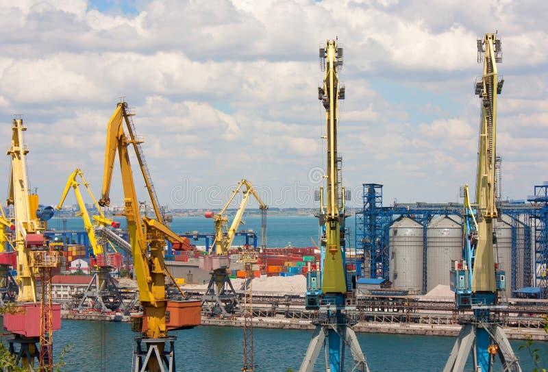 Les grues, les réservoirs et les récipients en cargaison marine mettent en communication photos stock