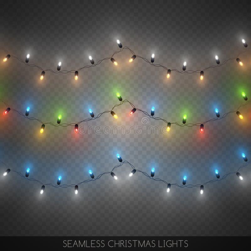 Les guirlandes colorées décoratives sans couture d'ampoule ont placé, Noël illustration libre de droits