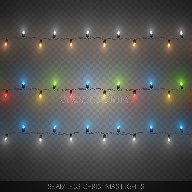 Les guirlandes colorées décoratives sans couture d'ampoule ont placé, Noël illustration stock