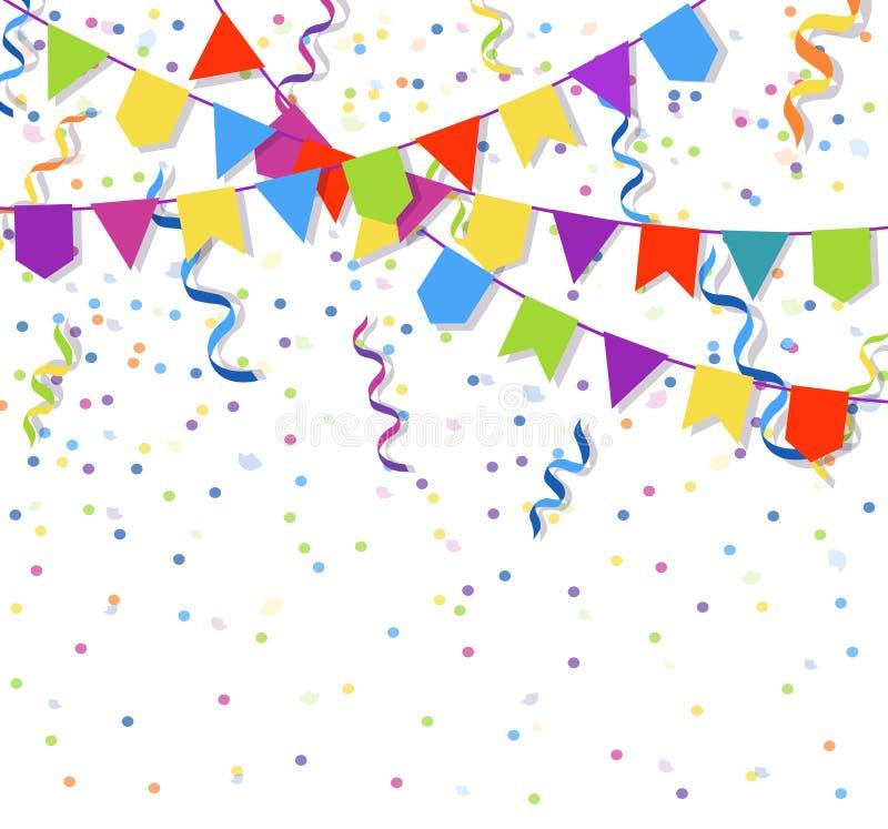 Les guirlandes de fête de drapeaux et les confettis de papier de explosion d'étamine dirigent l'illustration illustration stock
