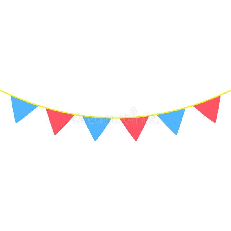 les guirlandes, drapeaux de partie ont coloré l'icône L'élément des feux d'artifice colorés font la fête l'icône pour les apps mo illustration libre de droits