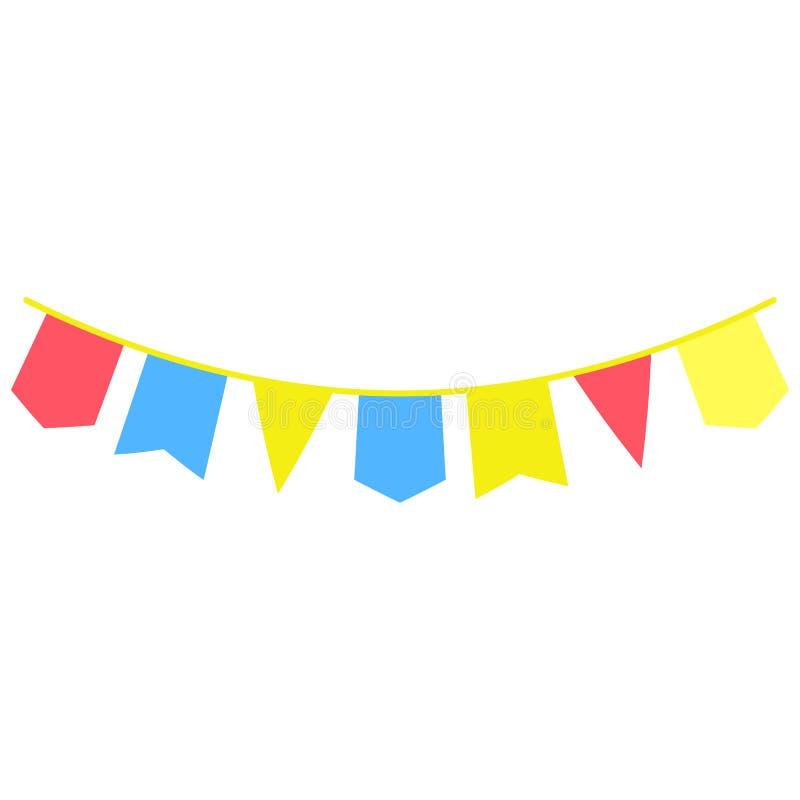 les guirlandes, drapeaux de partie ont coloré l'icône L'élément des feux d'artifice colorés font la fête l'icône pour les apps mo illustration stock
