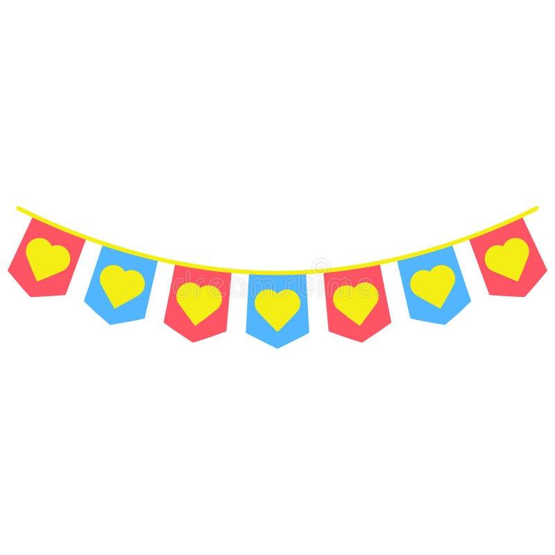 les guirlandes, drapeaux de partie ont coloré l'icône L'élément des feux d'artifice colorés font la fête l'icône pour les apps mo illustration de vecteur