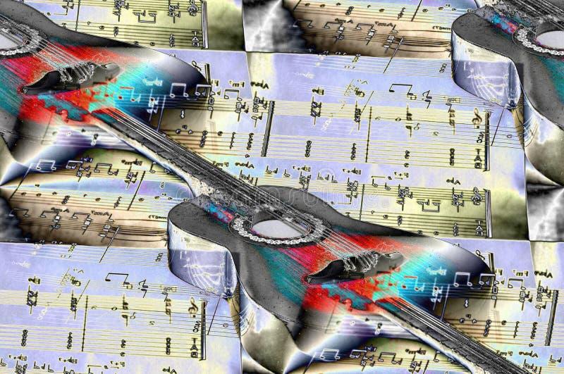 Les guitares classiques, notes musicales, musique est dans le ciel illustration libre de droits