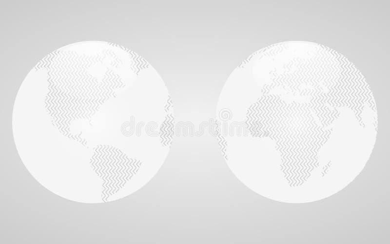 Les hémisphères blancs de la terre de planète illustration libre de droits