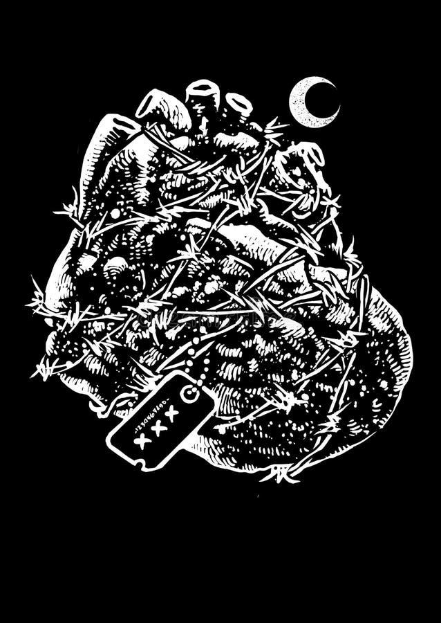 Les héros de coeur dirigent Art Illustration illustration stock